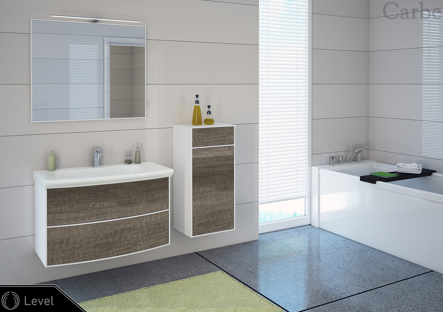 Level - Oak Carbon, Dolmite Washbasin, Soft Closing, Push To Open
