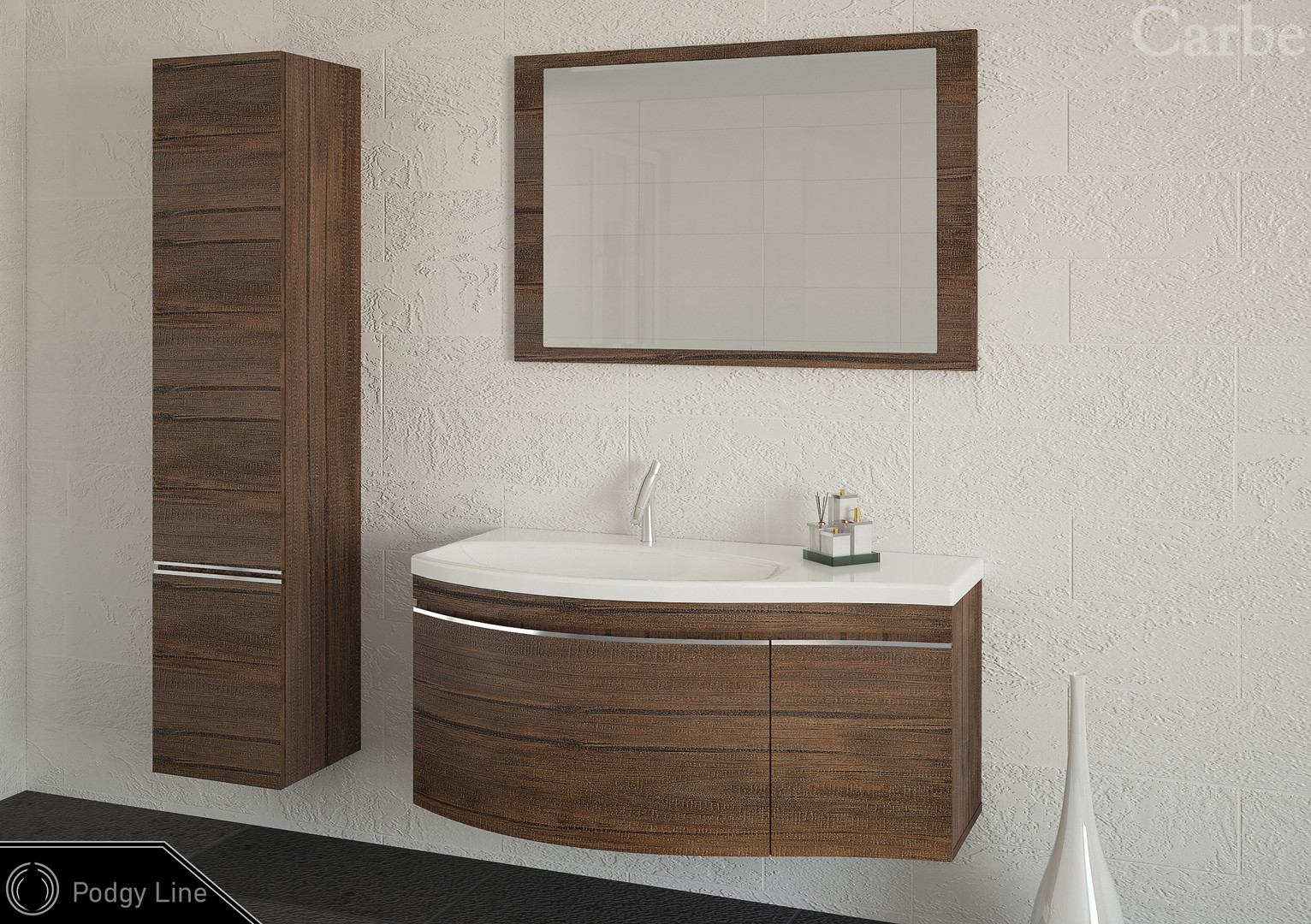 PodgyLine - Oak Antique, Dolmite Washbasin, Soft Closing