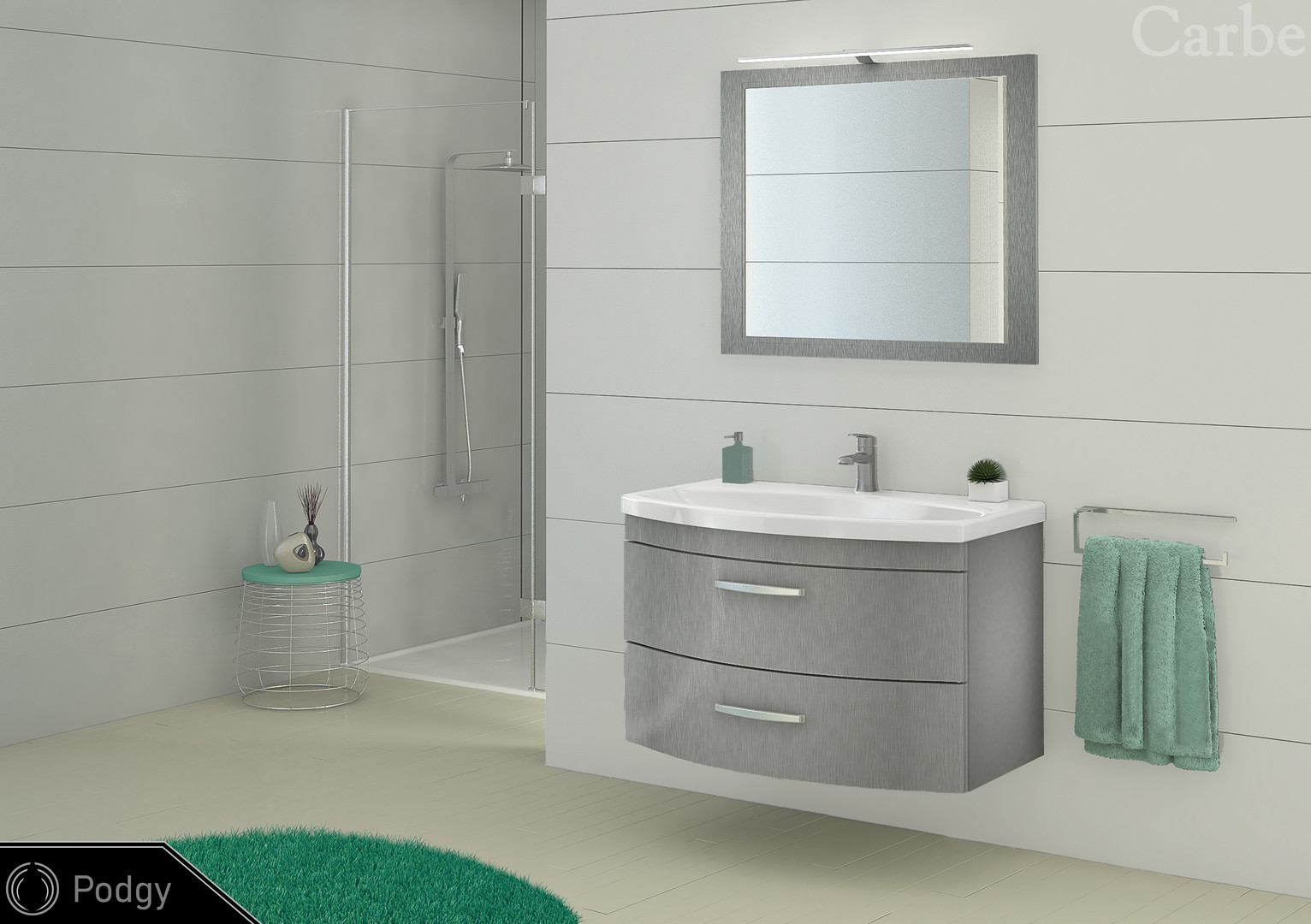 Podgy - Aluminium Structure, Dolmite Washbasin, Soft Closing