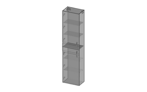 Högskåp, två dörrar, glashyllor, smalt.p