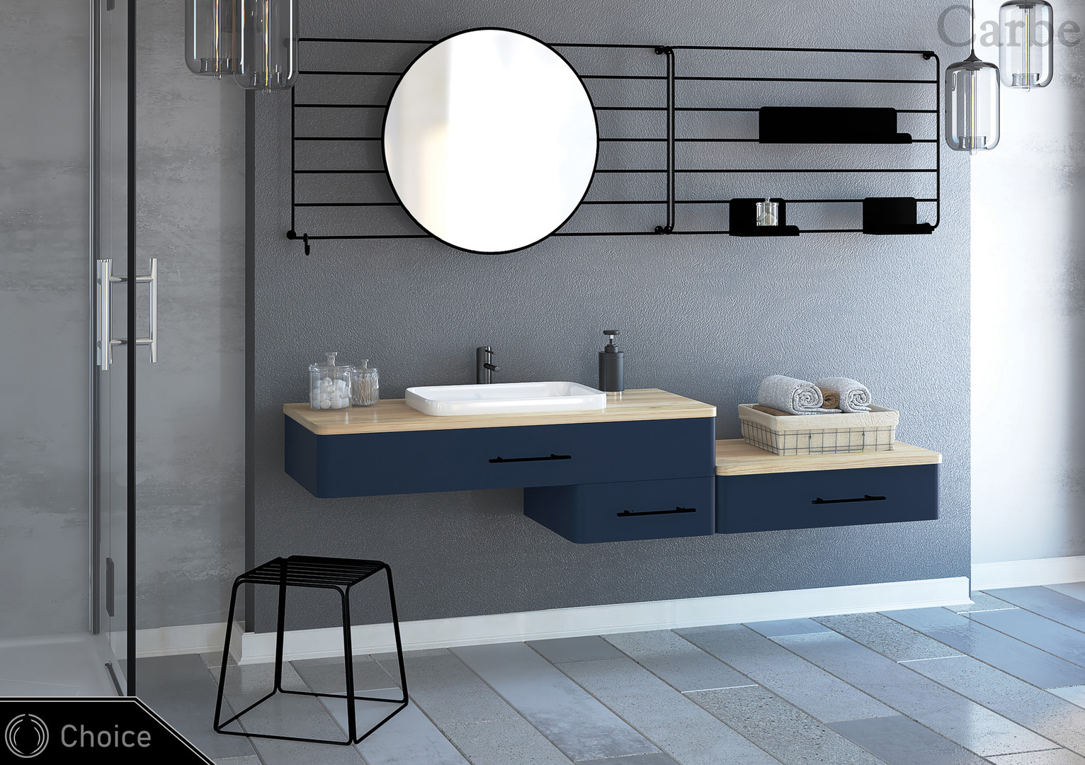 Choice - Wave Blue, Natural Ash Wood, Dolmite Washbasin, Soft Closing