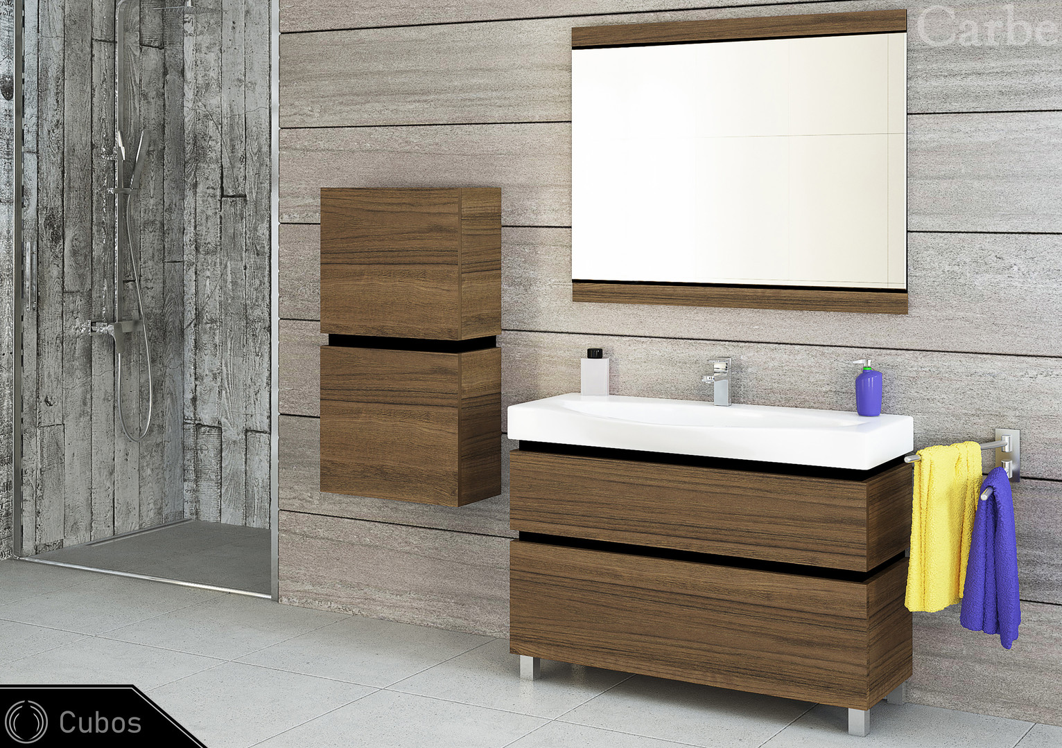 Cubos - Oak Antique Brown, Ceramic Washbasin, Soft Closing