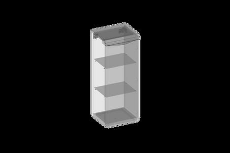 Vägghångt skåp, en dörr, glashyllor.png