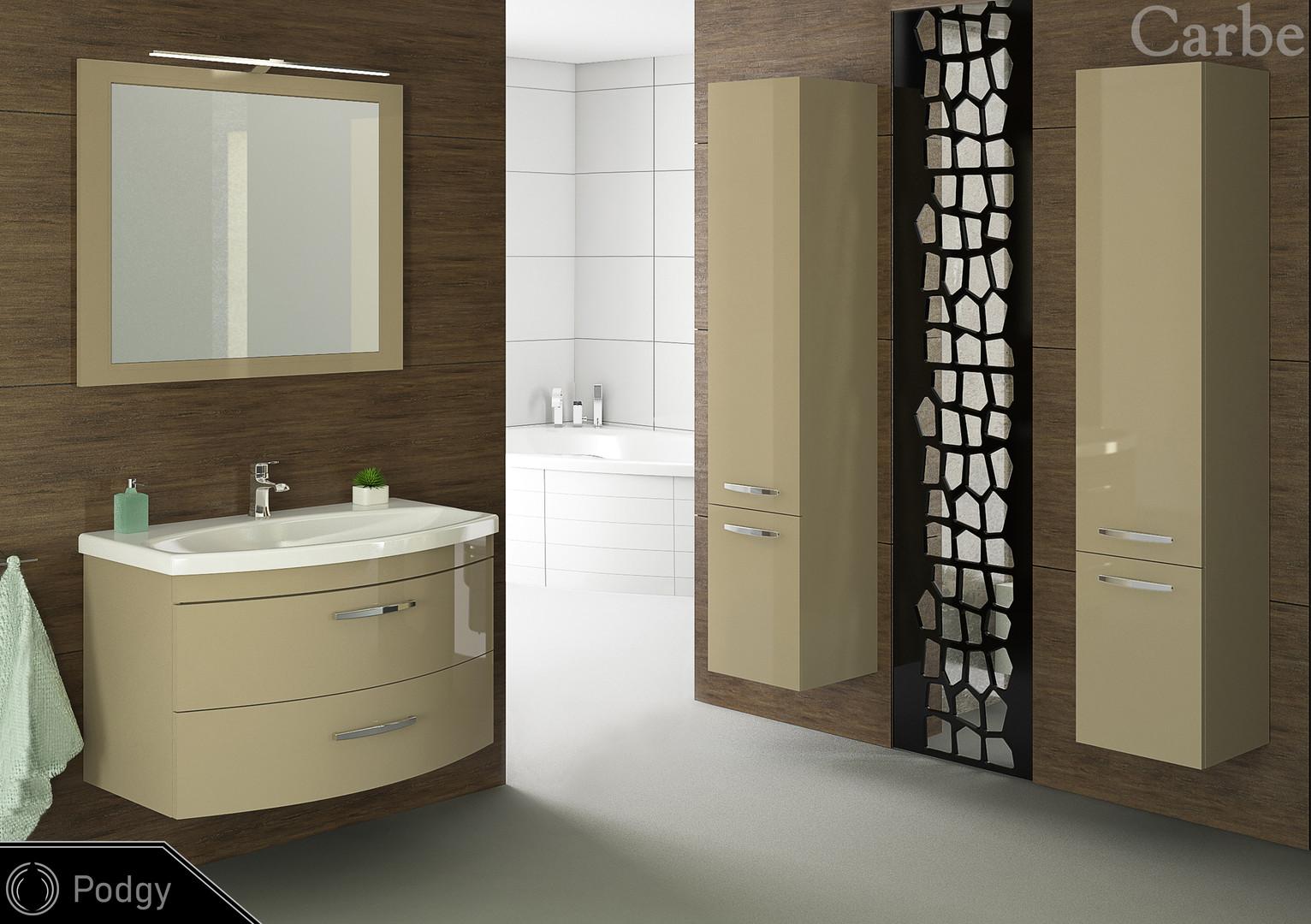Podgy - Cappucino HG, Dolmite Washbasin, Soft Closing
