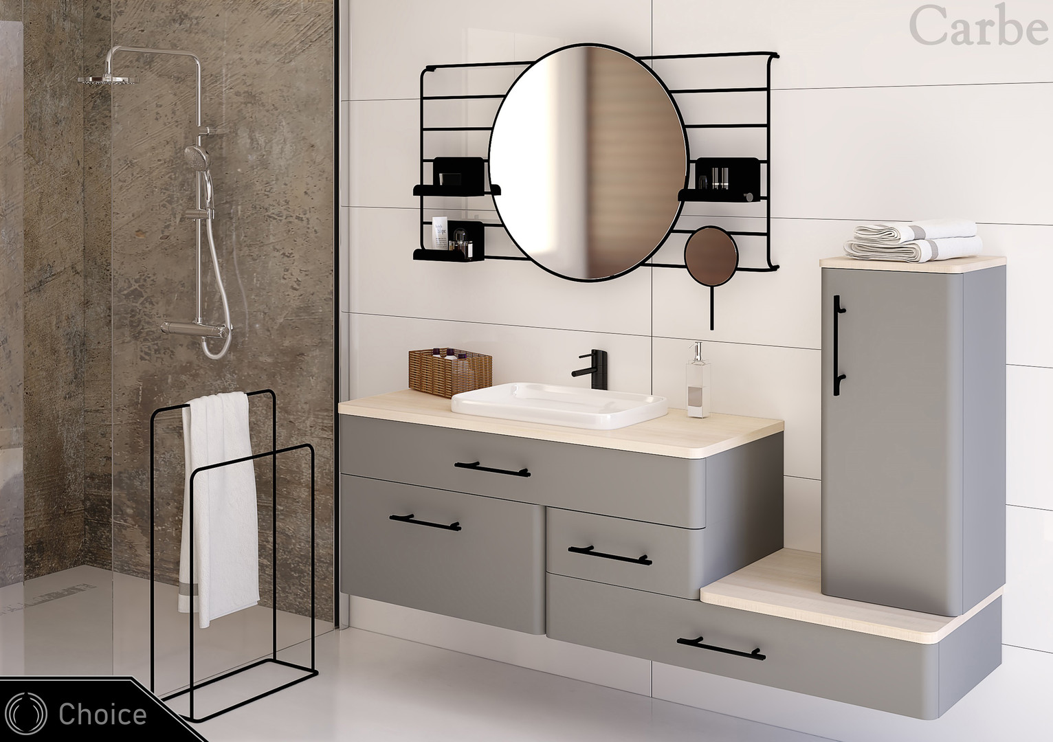 Choice - Gray Suedette Matt, Natural Ash Wood, Dolmite Washbasin, Soft Closing