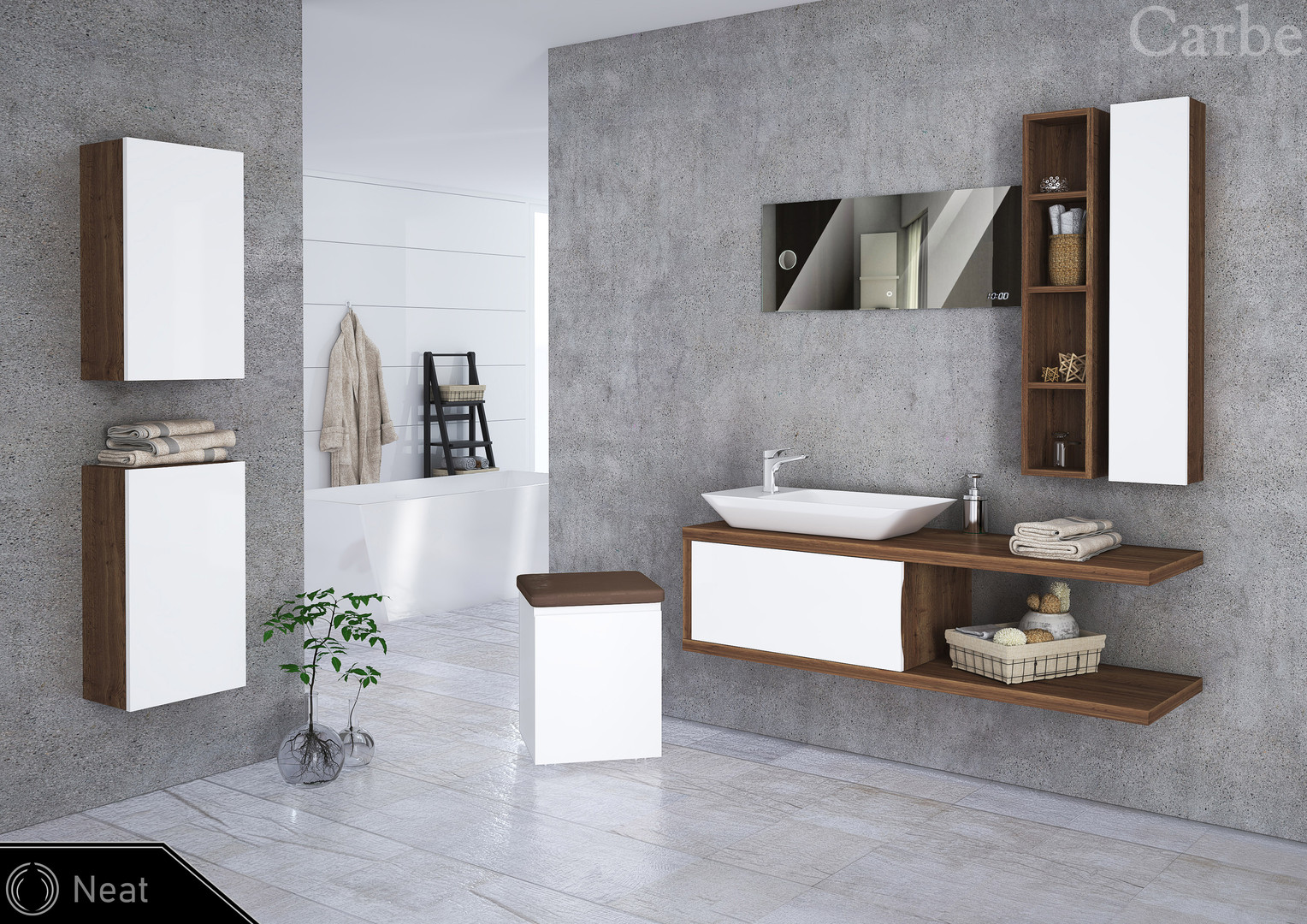 Neat - Oak Halifax Tabak, Arctic White High Gloss, Ceramic Washbasin, Soft Closing