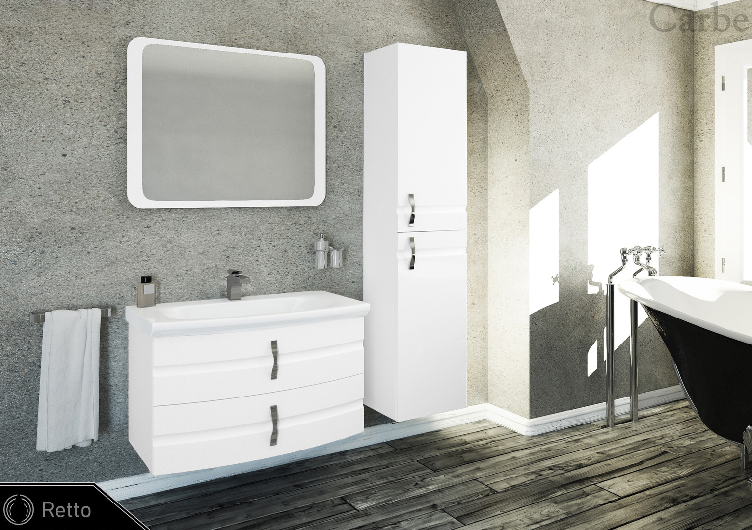 Retto - Arctic White High Gloss, Cermaic Washbasin, Soft Closing