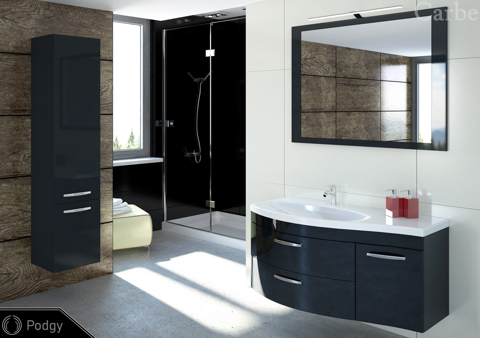 Podgy - Anthracite HG, Dolmite Washbasin, Soft Closing