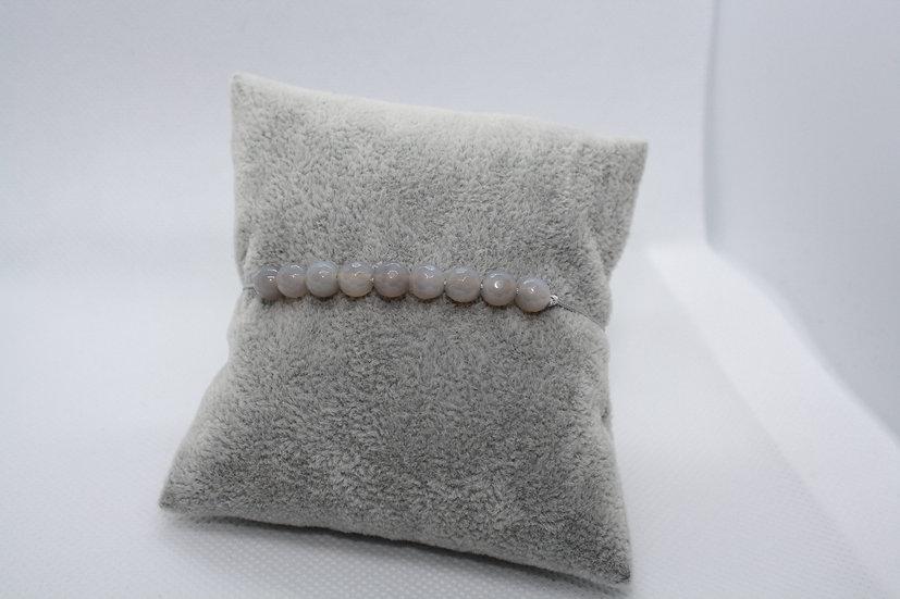 Bracelet Perles Agathe grise