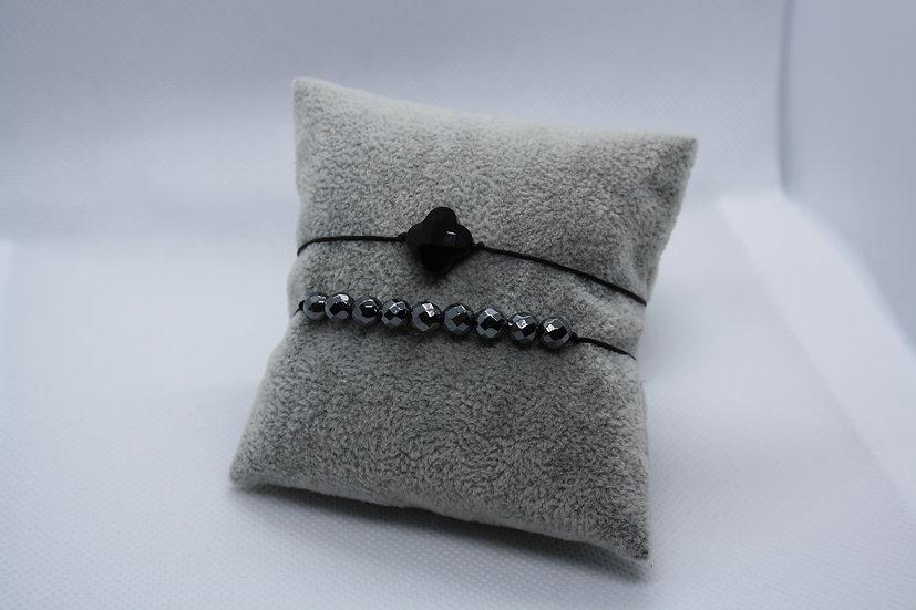 Duo Bracelets Agathe noire / Hématite
