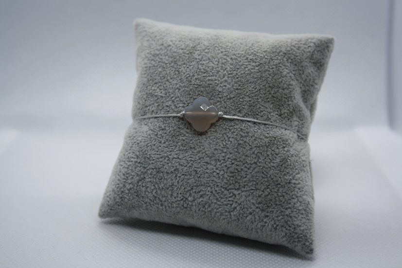 Bracelet Trèfle Agathe grise