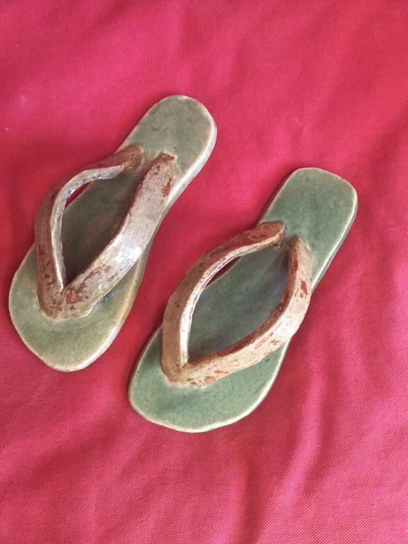 Green Thong Sandals