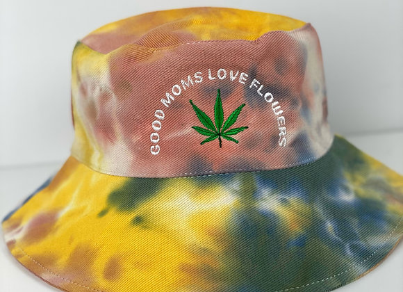 "Tye Dye ""Good Moms Love Flowers"" Bucket Hat"