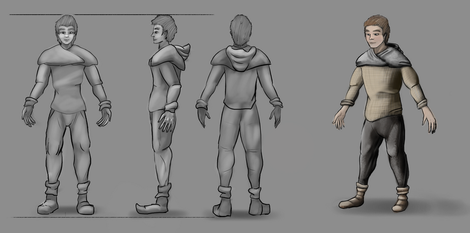 This is the character model for the player, a boy turning man with simple cloth and leather clothing.