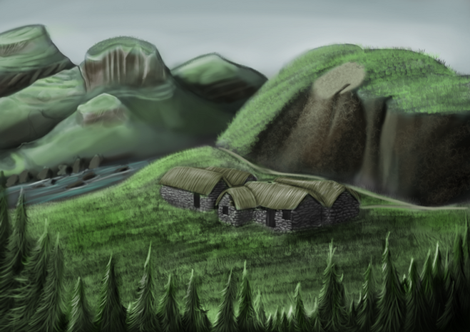 The Hamlet is your home, a sleepy sanctuary to cushion the player's first steps and interactions. This is the womb that has nurtured the player: wrapped tightly in dense woods and sitting beside a gently flowing river of pure blue. This is a precious place which protects the player and his close-knit family, four homes tightly bound together. An almost utopian retreat from the scars of conflict that Scotland struggles to heal from, and worse still, more wounds seem promised as the whispers of war grow louder.