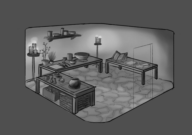 This is the Alchemist's Laboratory where all manners of potions, powders, plants, and cyrstals eagerly await experimentation.