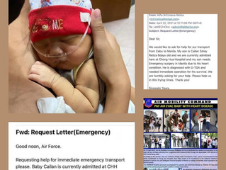 Urgent flight for baby Cai Retiza