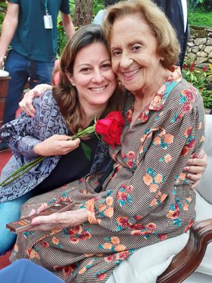 Bastidores com Laura Cardoso em A dona do pedaço, novela TV Globo