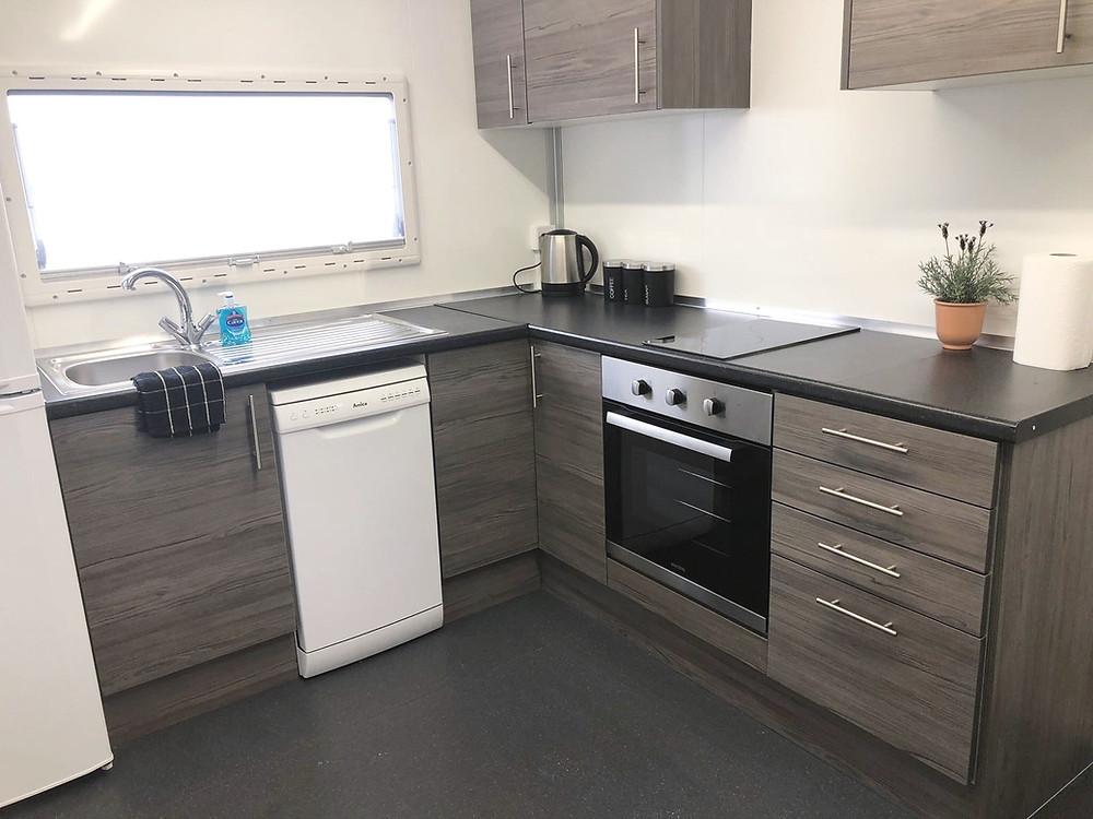 temporary kitchen oven dishwasher