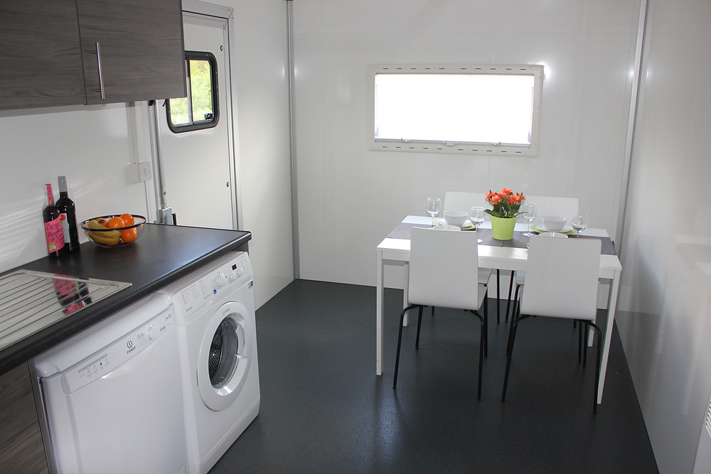 temporary kitchen inside table and chairs washing machine