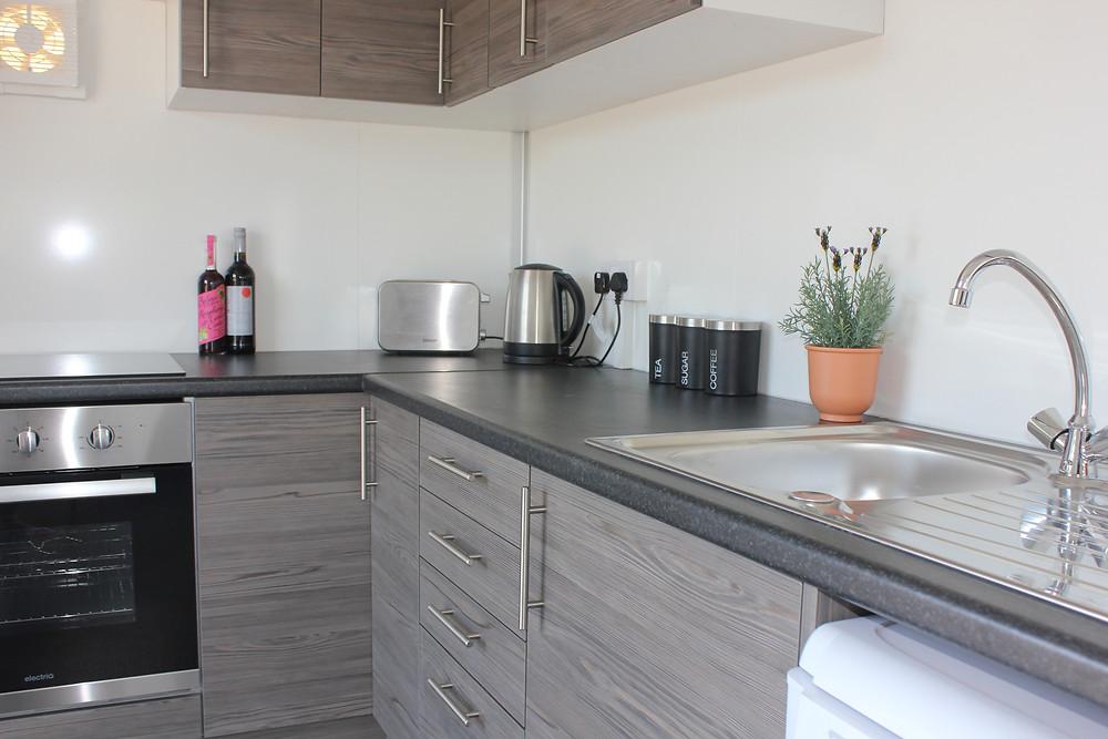 inside temporary kitchen