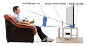 Homem sentado ao sofá assistindo futebol em uma televisão onde é colocado uma lente acústica feita de metamaterial para criar uma sensação de aproximação da fonte sonora