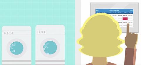 Boka tvättid via app eller en digital bokningstavla i tvättstugan