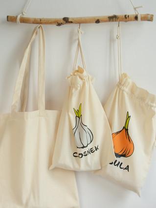 Bawełniane woreczki na owoce i warzywa