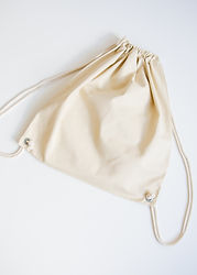 Beige Drawstring Backpack