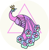 pink peacock over a triangle crowned with shin and flowers in feathers