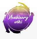Nonbinary wiki circular logo, purple, yellow, white and black