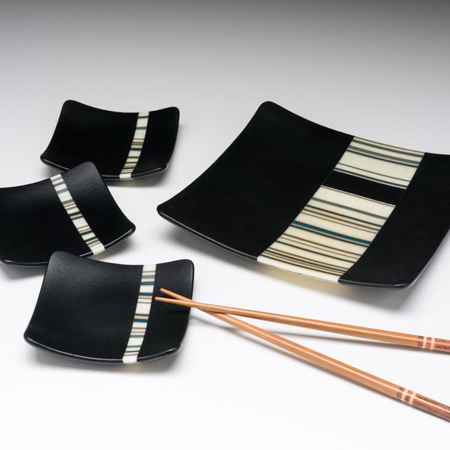 Fused glass sushi set