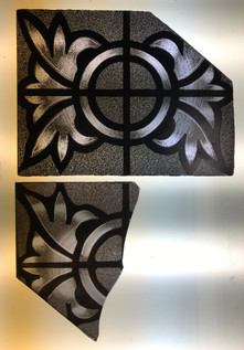 Top picture: the newly painted replacement piece. Bottom picture: one of the original broken pieces.