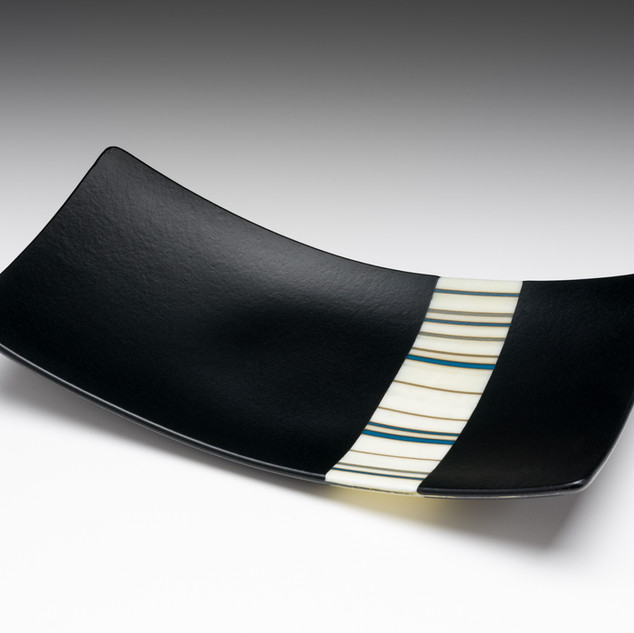 Fused sushi plate with French Vanilla strip