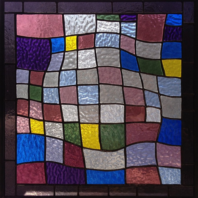 Stained glass made by Alex B. through a program of Brookline Community ed.