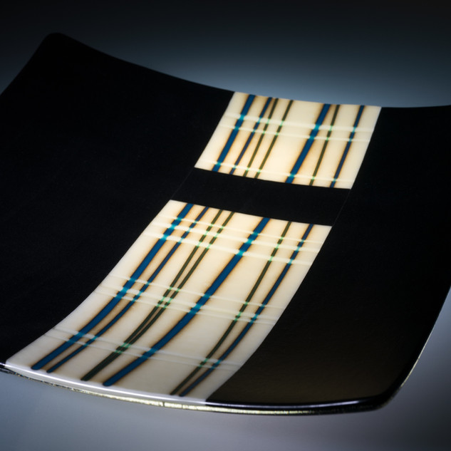 Square fused plate with bamboo design