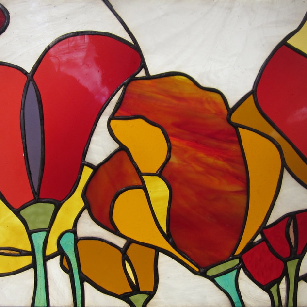 Stained glass made by Christine L. at the CCAE (Cambridge Center for Adult Education).