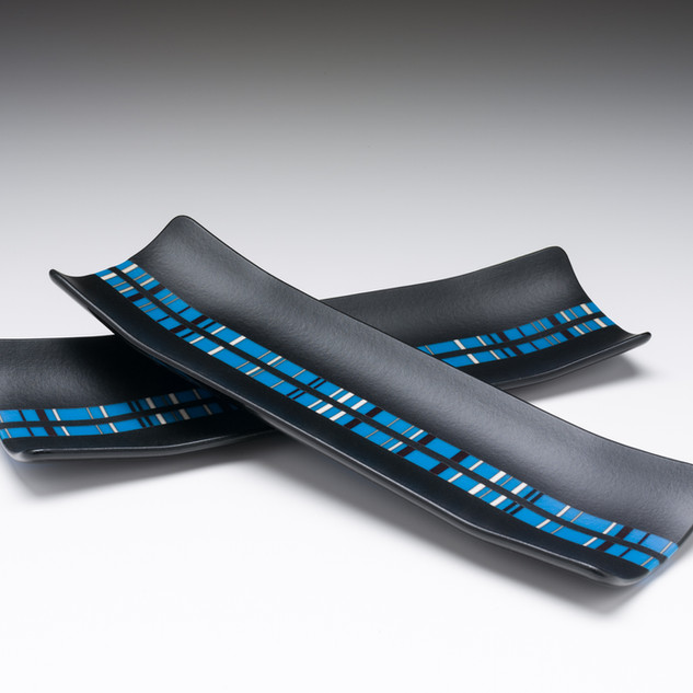 Two channel plates with blue inlay