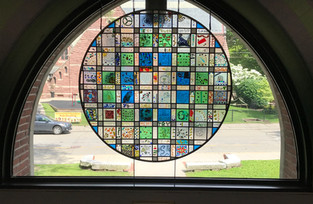 Stained glass piece, created in collaboration with fifty 5th graders from the Underwood School in Newton Center.