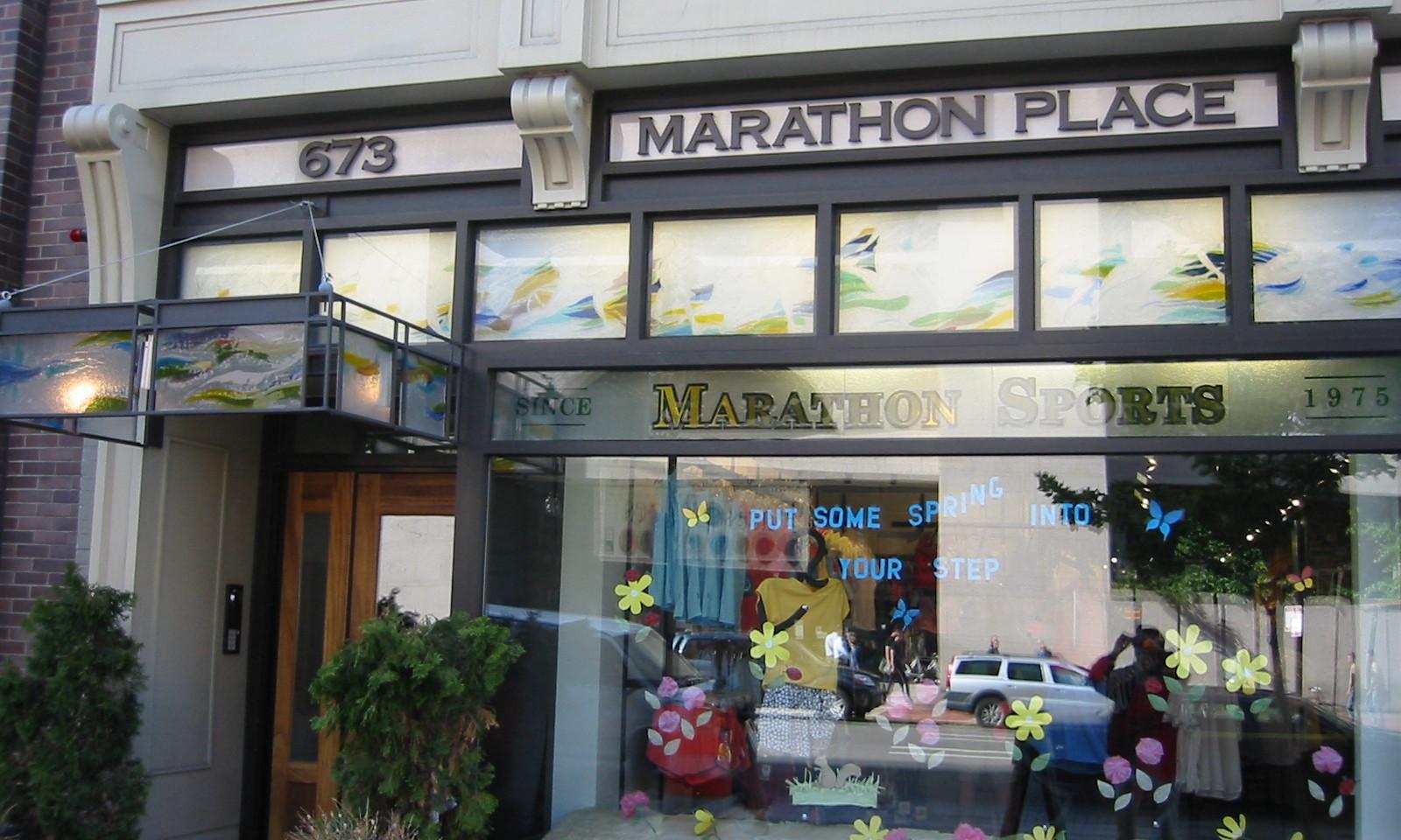 Fused glass panels at Marathon Place