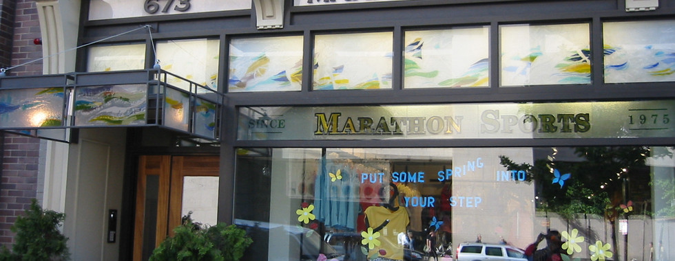 Fused glass panels at Marathon Place