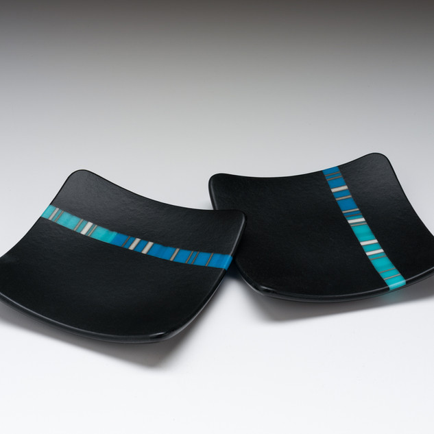 Two square fused dish with blue inlay