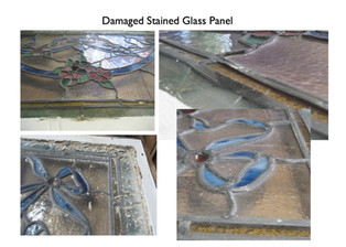 4 pictures showing the damaged stained glass window.