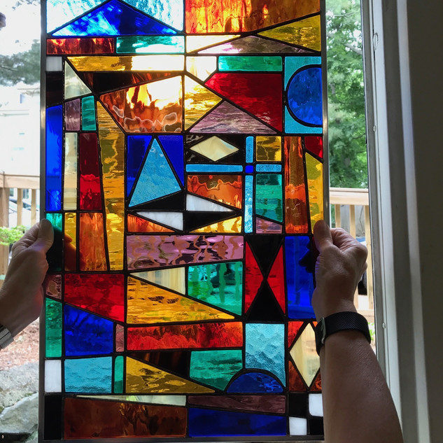 Stained glass piece created by Joan L. at the New Art Center in Newtonville.