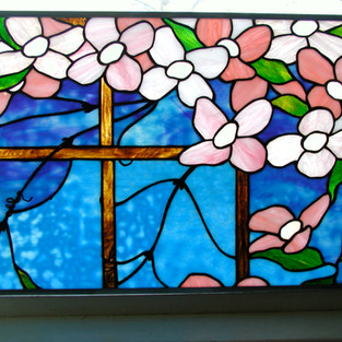 Stained glass created by Pam L. through a program by Newton Community Education.