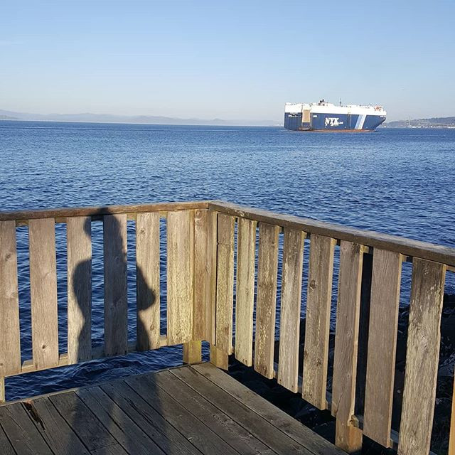 Columbia River with Cargo Ship and Person's Shadow on a Fence