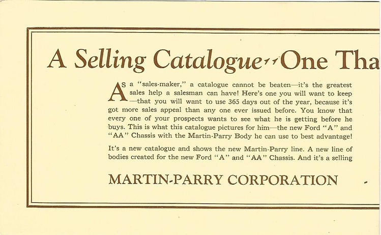 Martin Parry Ad for catalog 1928 page 1-
