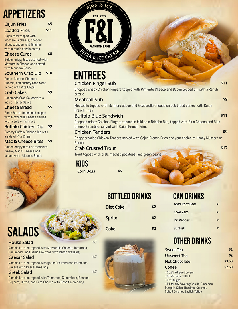 Appetizers, Entrees, Salads,
