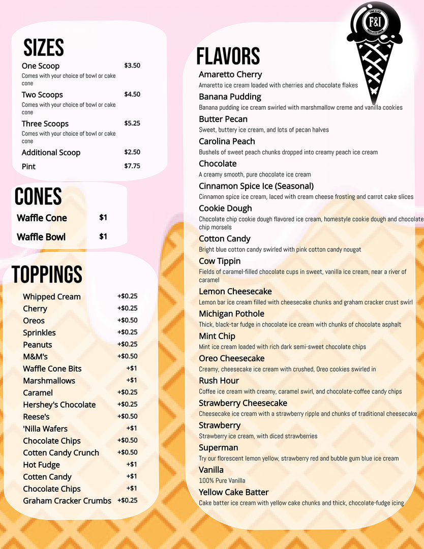 Sizes, Cones, Toppings, Flavors