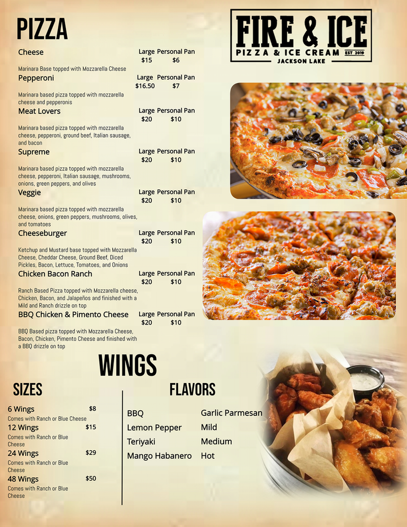 Pizza, Wings (sizes & flavors)